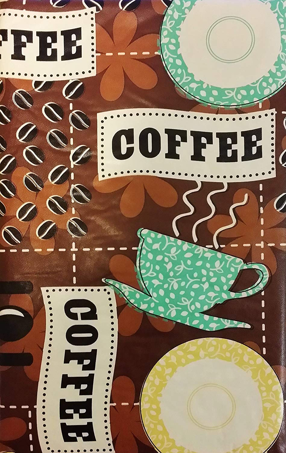 Coffee Beans Cups brown vinyl flannel backed tablecloth tablecover 52 x 90 Oblong
