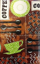 "Coffee Beans Cups brown vinyl flannel backed tablecloth tablecover 52"" Square"