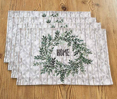 Country Home Wreath Motif Tapestry Placemats Set of 4
