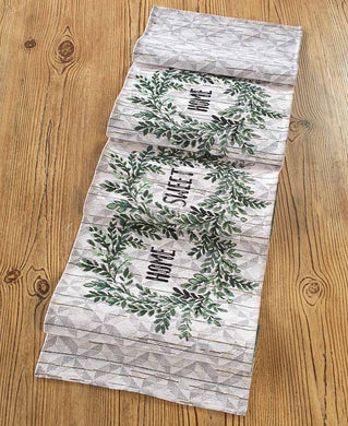 Country Home Wreath Motif Table Runner Tapestry 13 x 72