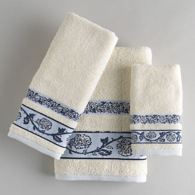 Country Living Monticello Blue Ivory Bath Hand Fingertip Towels 3 Piece Set