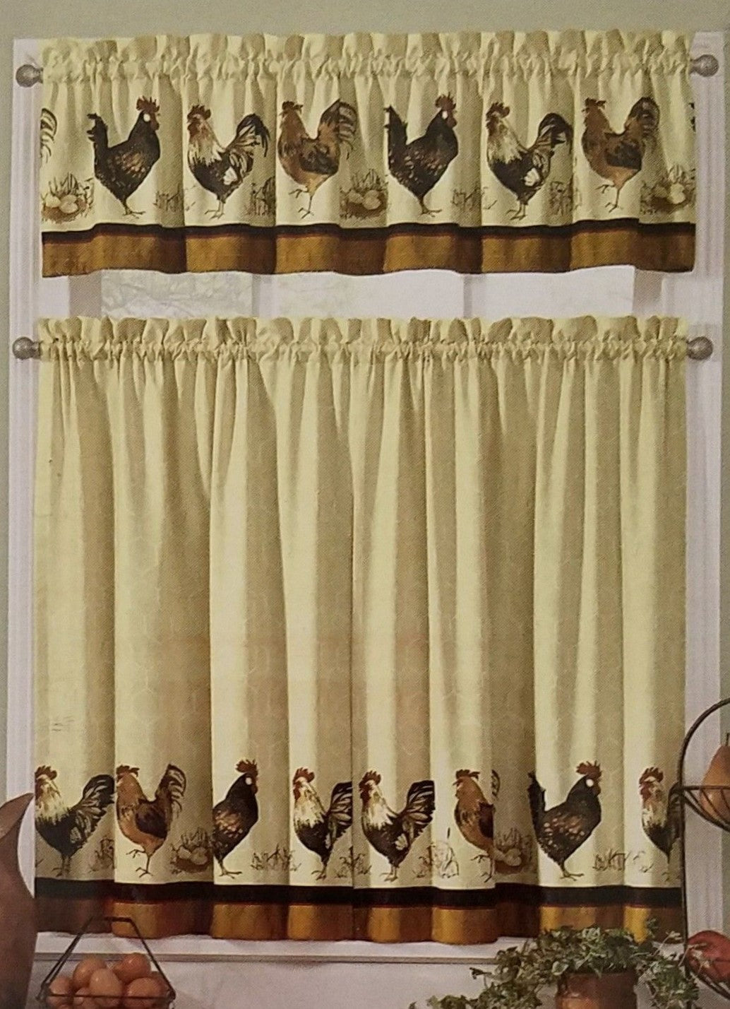 Ellery French Roosters Kitchen Curtains 36L Tiers and Valance Set