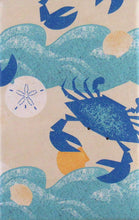 Elrene Summer Fun Crabs Sand Dollars Blue Ocean Vinyl Tablecloth 60 Round