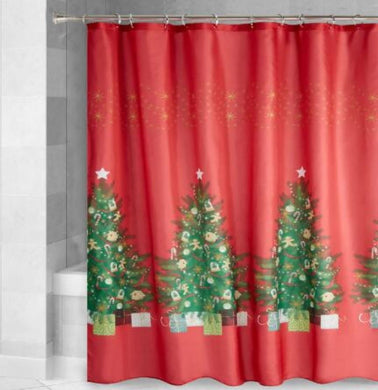 Traditional Christmas Trees with Gifts Red Fabric Shower Curtain