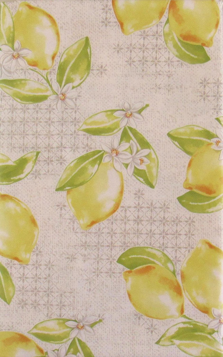 Lemons vinyl flannel back tablecloth 60 inch Round