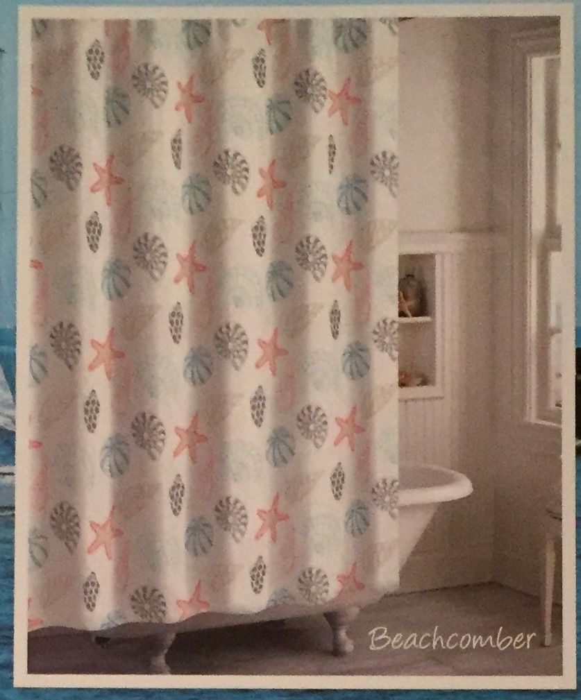 Destinations CHF Beachcomber Seashells Fabric Shower Curtain Starfish