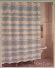 Destinations CHF Wave Scallop Cotton Fabric Shower Curtain