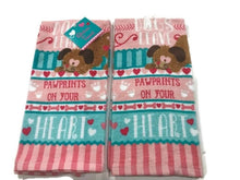 Valentines Day Dogs Pawprints on Your Heart Set 2 Kitchen Towels