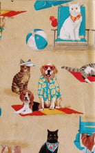 Dogs and Cats Day at the Beach Vinyl Flannel Back Tablecloth 52 x 70 Oblong