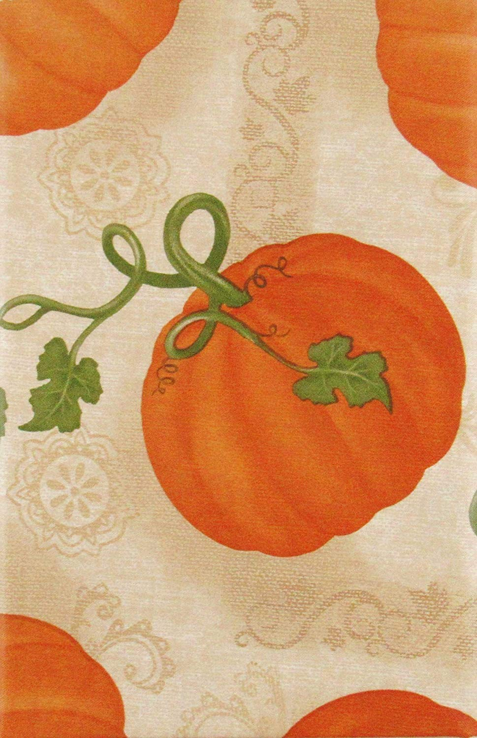 Elegant Autumn Pumpkins Vinyl Flannel Back Tablecloth 52 x 70 Oblong