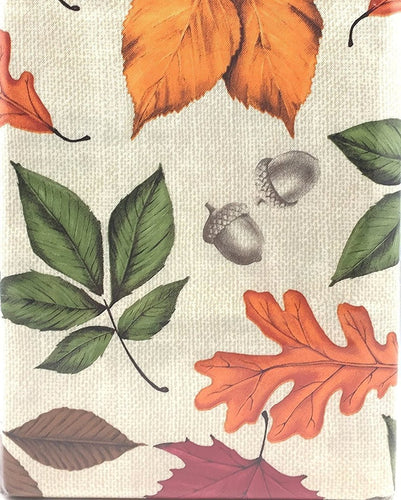Acorns Colorful Falling Leaves Beige Fall Flannel Backed Vinyl Tablecloth 52 x 70