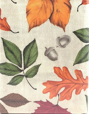 Acorns Colorful Falling Leaves Beige Fall Flannel Backed Vinyl Tablecloth 60 Round