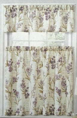 Ellery Homestyles Tier and Valance Curtain Set Scripted Floral Purple Flowers