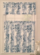 Ellery Homestyles Tier and Valance Curtain Set Pacifica Blue Palm Tropical
