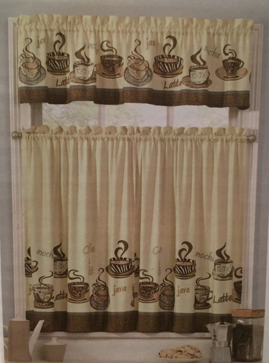 Coffee Cups Java Latte Tiers and Valance Kitchen Curtain Set