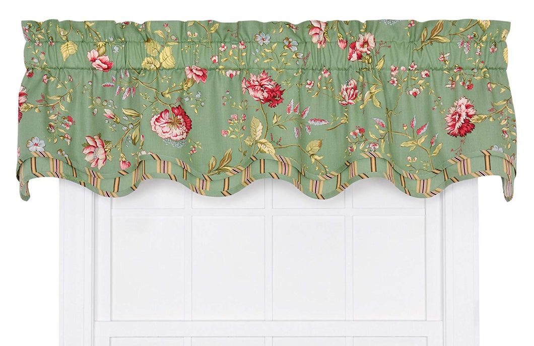 Ellis Curtain Coventry Floral Bradford Valance Green
