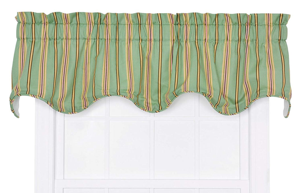 Ellis Curtain Warwick Stripe Lined Scallop Valance, Green