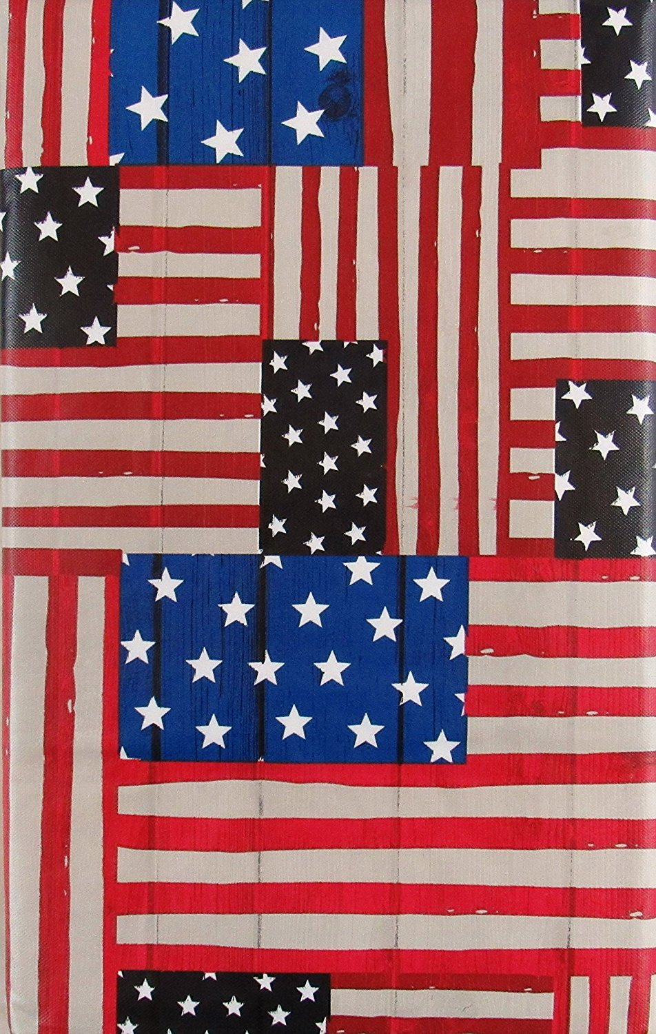 Elrene American Flags Abstract Vinyl Flannel Back Tablecloth 52 x 70 Oblong