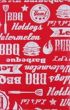 Elrene BBQ Vinyl Flannel Back Tablecloth 60 Round Red Lets Eat