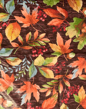 Colorful Autumn Leaves Wooden Background Vinyl Flannel Tablecloth Various Sizes