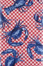 Elrene Crustacean Cookout Red Crabs Lobsters Vinyl Flannel Back Tablecloth 60 Round