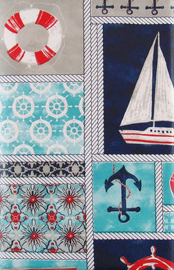 Elrene Marine Nautical Patchwork Vinyl Flannel Back Tablecloth Various Sizes