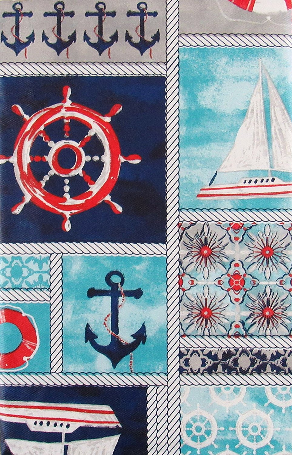 Elrene Marine Nautical Patchwork Vinyl Flannel Back
