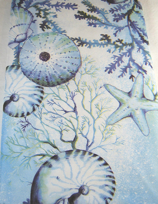 Elrene Seashells Sand Dollars Star Fish Vinyl Flannel Back Tablecloth 52 x 70