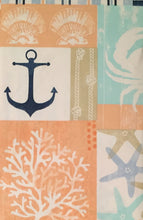 Elrene Nautical Anchor Crab Patchwork Vinyl Flannel Back Tablecloth 60 Round