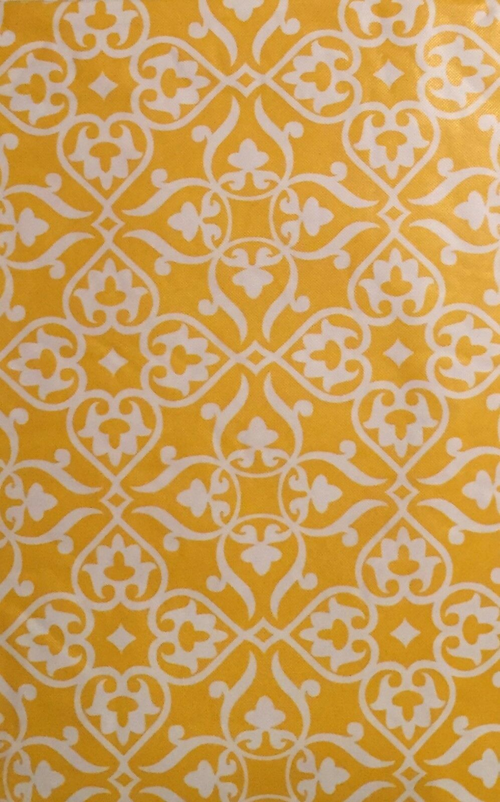 Elrene Yellow Floral Heart Damask vinyl flannel back tablecloth 52 Square