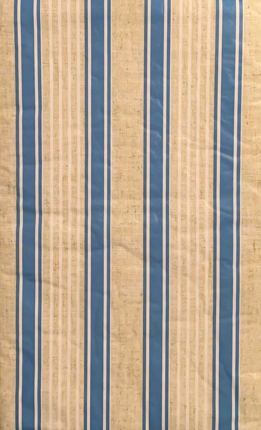 Blue Sandy Stripes Vinyl Flannel Back Tablecloth 60 Round Elrene