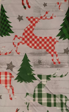 Christmas Plaid Reindeer Trees Vinyl Tablecloth 52 x 70 Oblong Elrene
