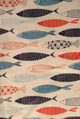 Colorful Fish Vinyl Flannel Back Tablecloth 60 Round Fishing Elrene
