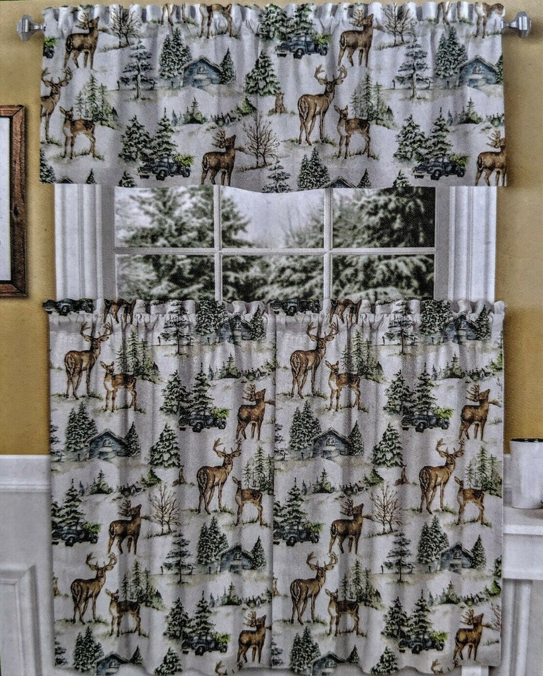 Curtain Set Deer Pine Trees 36L Tiers and Valance Cabin Evergreen Dreams