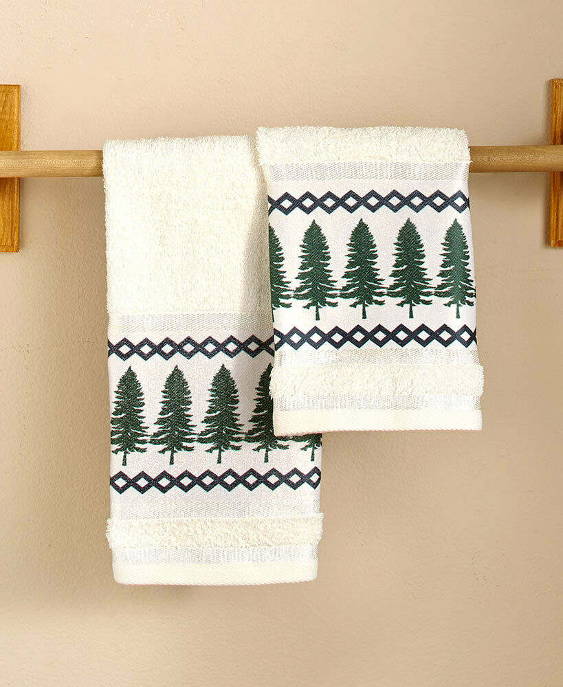 Evergreen Trees Hand Towels Set of 2 Lakehouse Lodge Cabin