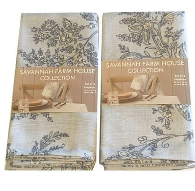 Savannah Farm House Fabric Napkins Set of 4 Avignon Stone Jacobean Print