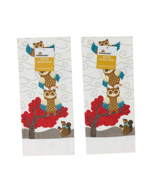 Woodland Owls with Squirrel Set of 2 Kitchen Towels