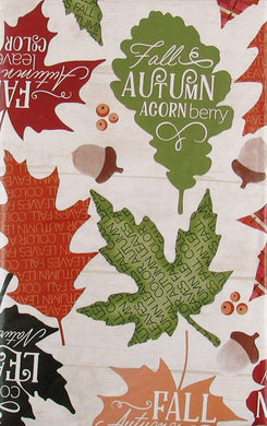 Elrene Fall Autumn Leaves Acorn Berry Vinyl Flannel Back Tablecloth 60 Round
