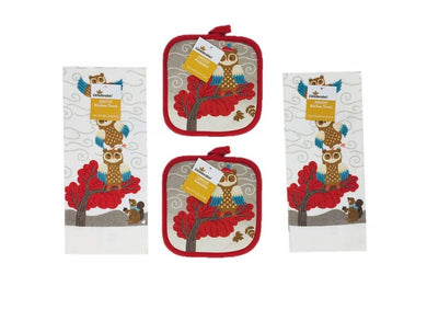 Fall Autumn Woodland Owls with Squirrel Kitchen Towels Potholders 4 piece Set