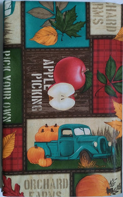 Fall Harvest Pickings Vinyl Tablecloth with Flannel Backing 52 x 70 Oblong