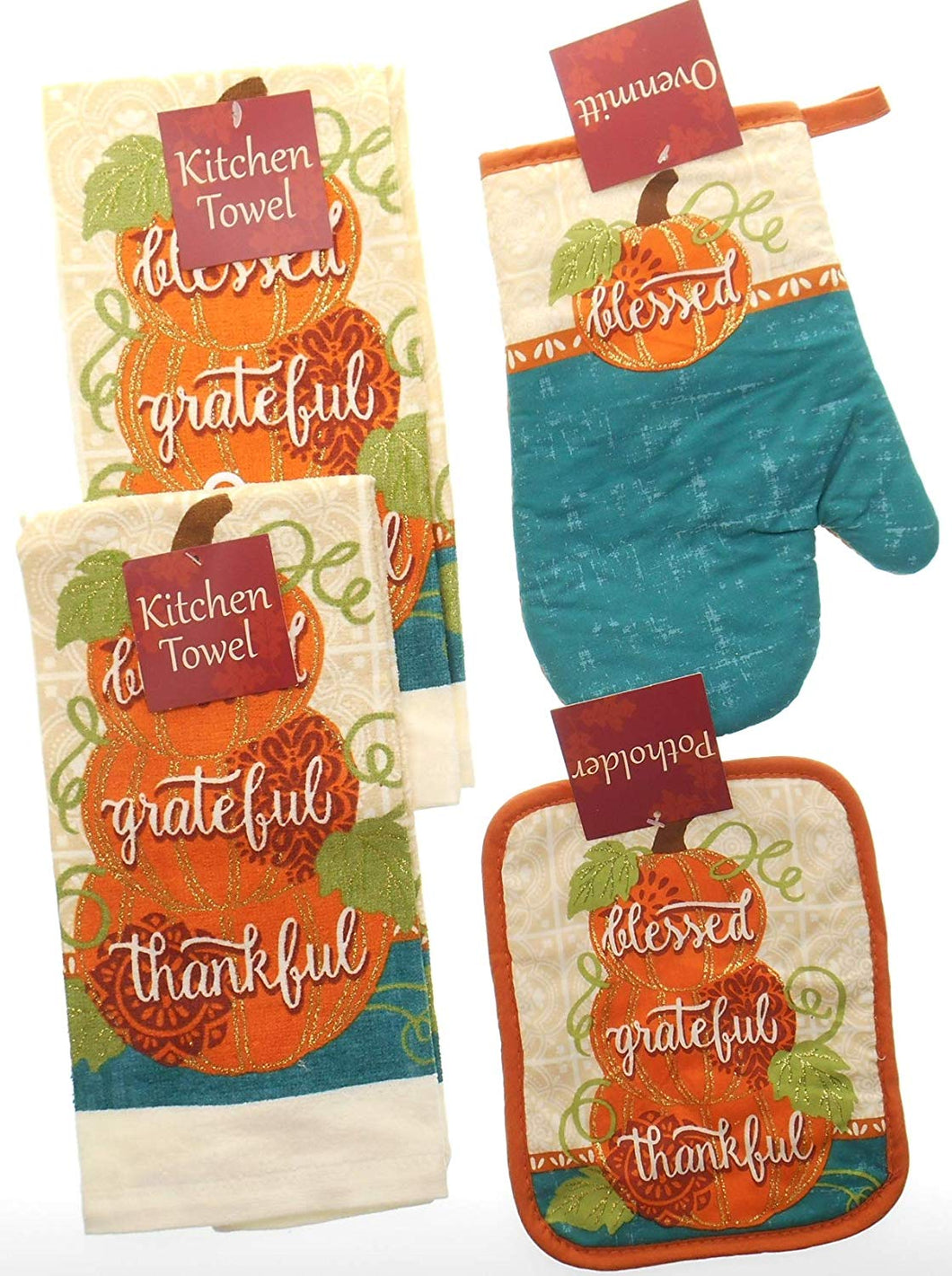 Pumpkins 4 pc Kitchen Linen Set Towels Potholder Oven Mitt Grateful Thankful
