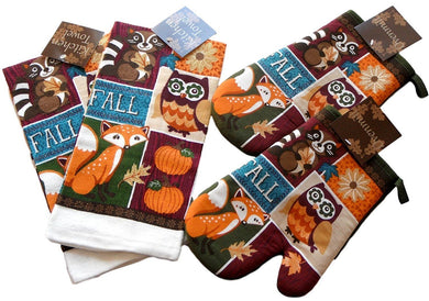 Fall Owl Raccoon Fox 4 pc kitchen towels oven mitts set