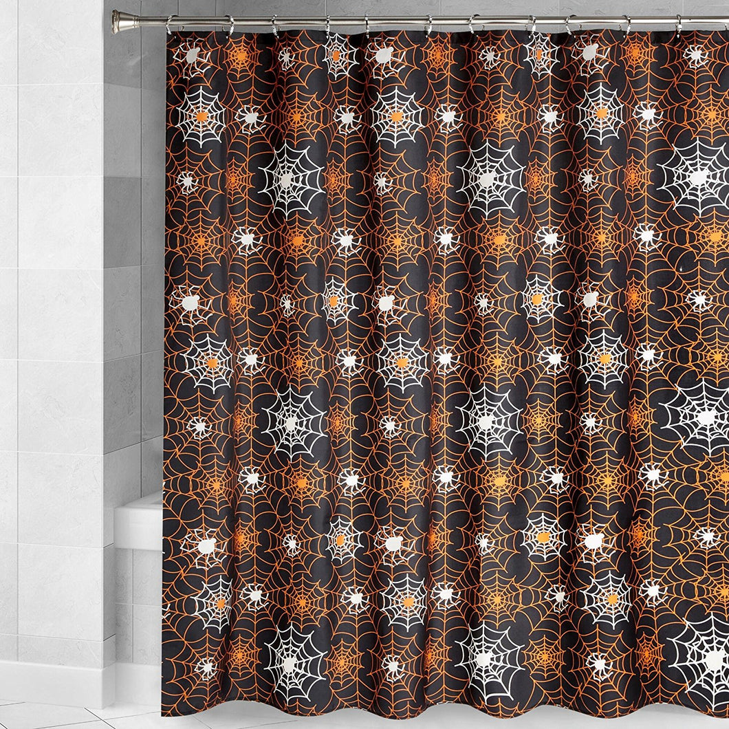 Halloween Shower Curtain Spider Web Black Glow in the Dark