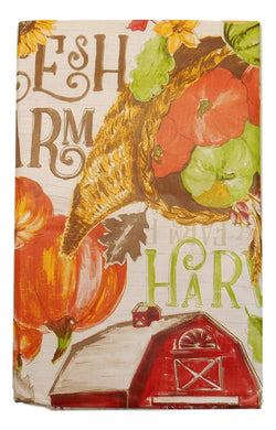 Farm Harvest Fall Vinyl Tablecloth Red Barns Pumpkins Cornucopia Various Sizes