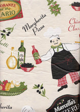 Fat Chef Ristorante Pizzeria vinyl flannel backed tablecloth tablecover 60 round