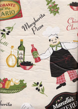 Fat Chef Ristorante Pizzeria vinyl flannel backed tablecloth table cover 52 x 90