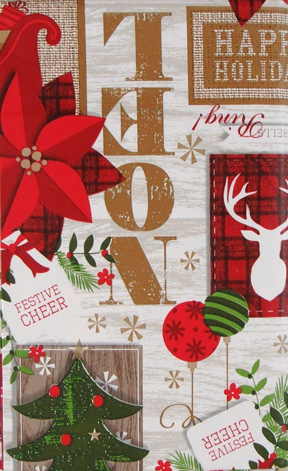 Festive Cheer Christmas Reindeer Vinyl Flannel Back Tablecloth 60 Round