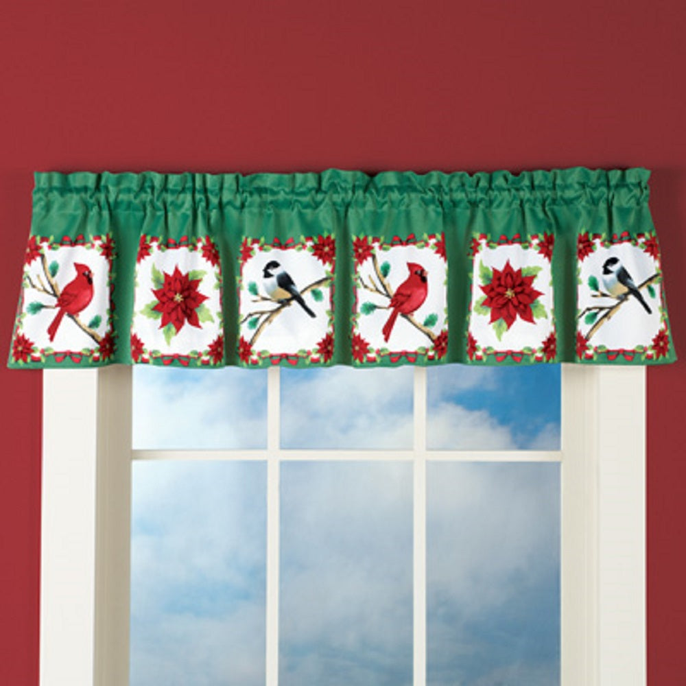 Christmas Festive Holiday Birds and Poinsettia Valance Cardinals