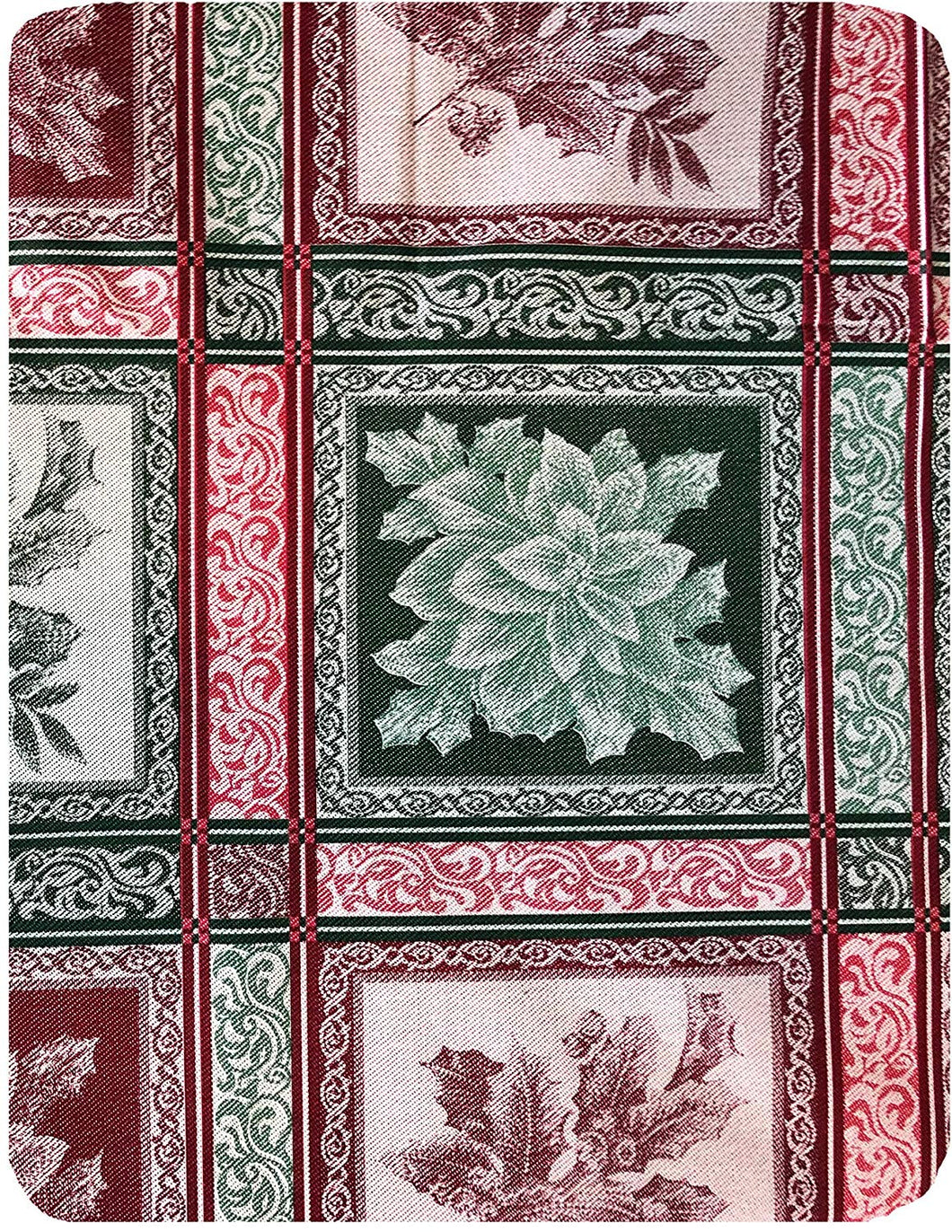 Christmas Vinyl Flannel Tablecloth Various Sizes Holly Poinsettias Red Green
