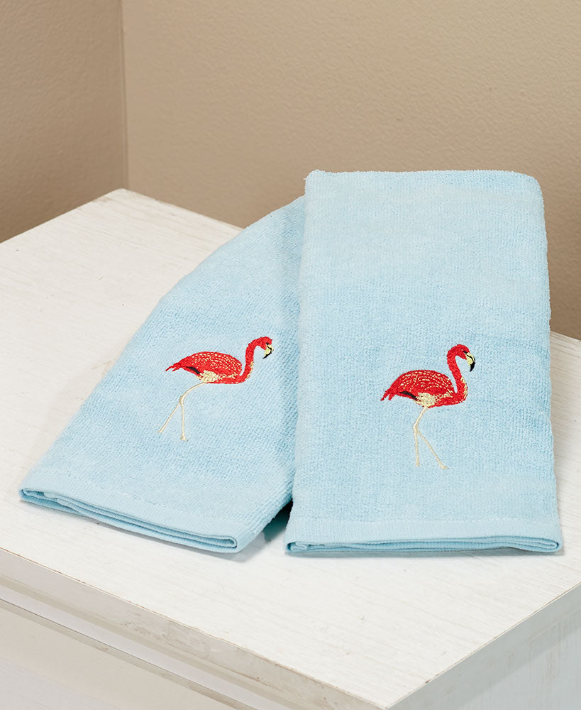 Tropical Beach Set of 2 Flamingo Hand Towels